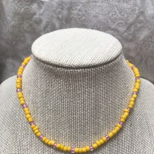 Yellow and Purple Seed Bead Choker